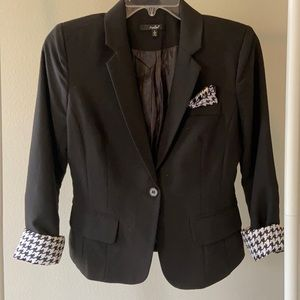 Black Blazer with Houndstooth Accents